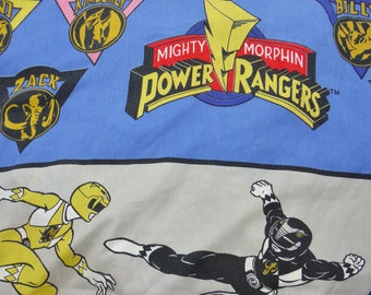 Vintage 90's KId's Power Rangers Twin Fitted Bed Sheet