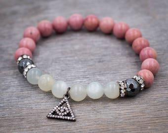 Boho beaded bracelet Meditation beads Rhodonite bracelet Moonstone bracelet Cubic Zirconia bracelet Good luck & Ptotection Evil eye bracelet
