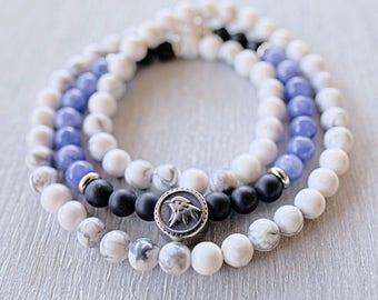 Triple wrap bracelet Mens beaded bracelet Onyx, Howlite, Aquamarine gemstone bracelet men Meditation beads Mala bracelet Eagle bracelet men