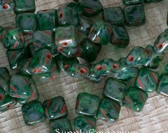Green Zircon Travertin Czech Glass Two Hole 6mm Silky Beads - 40 beads - Green Zircon Travertine Silkies - 4916