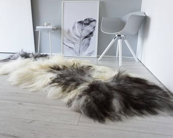 Genuine Rare Breed Icelandic - Double Natural Sheepskin Rug | Black | Creamy White  | Ivory | Grey Mix - DI 24
