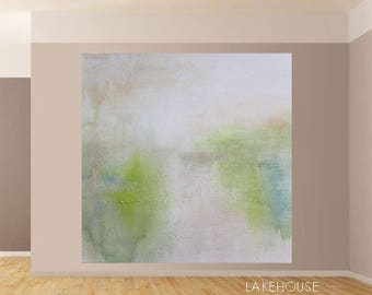 Modern Landscape Abstract Original Art Painting Textured Canvas Acrylics Watercolor Expressionist Ready to Hang USA Green Blue White DIY