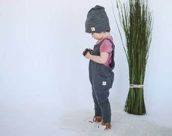 Toddler or Infant Slouchy Striped Toque, Reversible, Bamboo, Oeko Tex 100, Stretchy, Handpainted