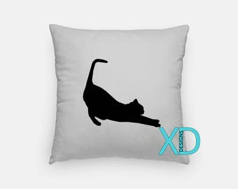 Black Cat Pillow, Cat Lover Pillow Cover, Pet Pillow Case, Gray and Black Pillow, Artistic Design, Home Decor, Decorative Pillow Case, Sham