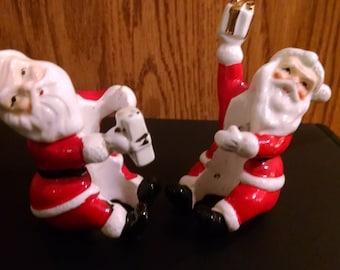 Vintage Napco Ceramic Santa Candle Huggers