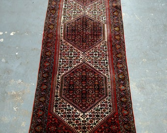 Persian Rug - 1990s Hand-Knotted Bijar Rug Runner (3700)