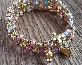 Wrap Bracelet, Bohemian Jewelry, Cross Bracelet, Memory Bracelet, Heart Bracelet, Boho Bracelet, Layering Bracelet, OOAK Bracelet