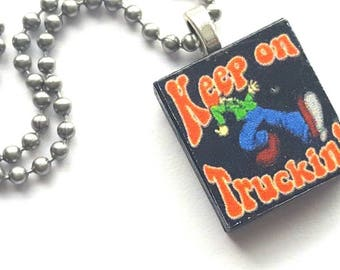 Keep on Truckin Scrabble Tile Necklace with Stainless Steel Ball Chain