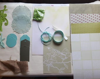 Green Collage Pack G2 ephemera die cuts paper Inspiration pack for junk journals scrapbook cardmaking feathers flowers