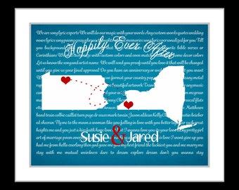 Song lyrics wall art, personalized anniversary gift, couple gifts, wedding song art, housewarming gift, state prints, map lyrics, map art