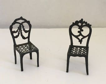 Antique French Dollhouse Chairs ca. 1880-1920