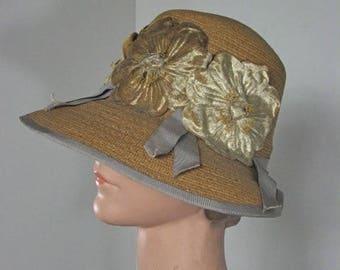 1910/20s Straw Cloche Hat with Silk Flowers and Cornflower Blue Ribbon....size Medium