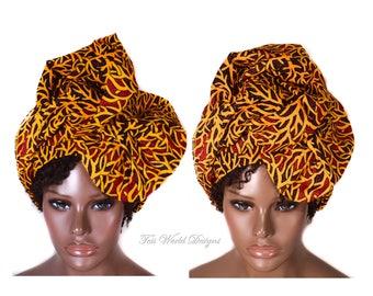 Orange Head Wrap/ Gift Ideas/ Ghana fabric head wrap/ cotton fabric headwrap/ African Head wraps/ Root turban wrap HT233