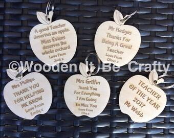 personalised apple teacher keyrings