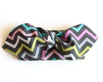 SALE || Cotton Headwrap || Mini Chevron Disco || Cotton Toddler Headwrap