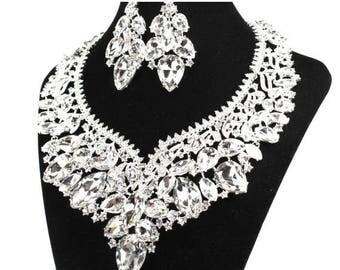 SALE SALE Bridal Statement Necklace, Crystal Bridal Necklace Set,  Crystal Wedding Necklace Set,  Crystal Evening Necklace   E - 140