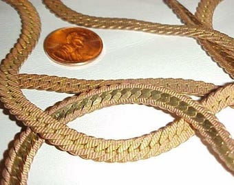3 Feet Vintage Brass Fancy Serpentine 6mm. Chain L119