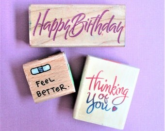 Greeting Card Making Stamp Set (3) Papercraft Stamps Happy Birthday / Thinking of You / Feel Better Wood Mount Destash Stamping Supply
