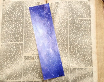 Art Bookmark, Watercolor bookmark, Violet Galaxy Bookmark, Watercolor Galaxy, book lover gift, unique bookmarks, purple, book accessories