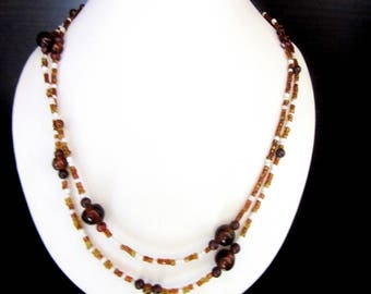 Glass Bead Necklace Double Strand Amber & White Colors 18 - 21 Inches