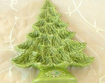Summer Sale 1989 Christmas Holiday Tree Plate, Use for Appetizers, Cookies, Candies, Wall Decor