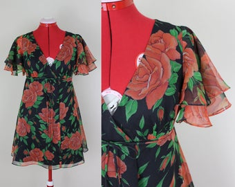 Flirty & Floaty Rose Printed Mock Wrap Dress ||| 1970s ||| Medium ||| Corky-Craig of California ||| Chiffon ||| Flounce Sleeve