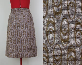 NEW ||| Groovy Geo Printed Tweed A-line Skirt ||| Knee Length ||| Panther brand ||| Medium ||| 1970s