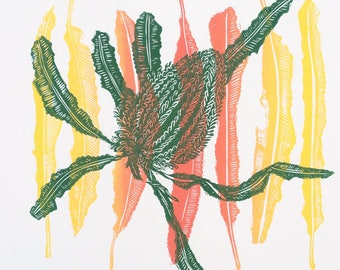 Original linocut Banksia and Leaves