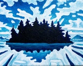 Custom Listing for FB. Do Not Buy - ORIGINAL Acrylic Painting, Blue Totem No.2 Blue Island and Sky Art