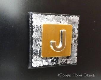 Letter J Gold and Silver Vintage Metal Letter Magnet 2 X 2