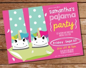Pajama Party Invitation - Sleep Over Party Invitation - Slumber Party Invitation - Teen Invitation- Instant Download- Edit with Adobe Reader