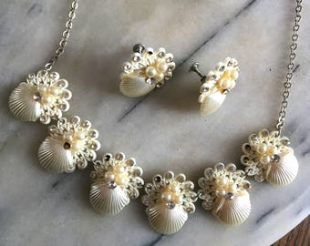 1940's Celluloid Shell Mermaid | Necklace & Earrings Set | Kitsch