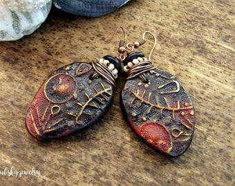 Primitive Bohemian Earrings OOAK Polymer Clay Rustic Wire Wrapped Dangle & Drop Boho Earrings Azul Sky Jewelry