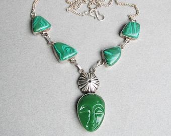 Sterling Silver & Malachite Mask FACE Vintage Pendant Necklace