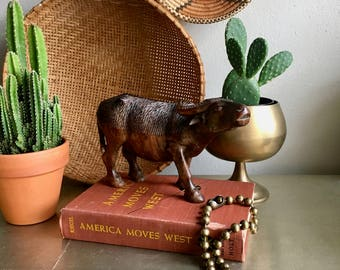 vintage carved wood Water Buffalo