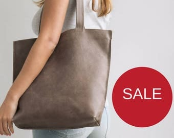 SALE Buy 1 Get 1 FREE - Brown Leather Tote, Zipper Tote Bag, Laptop Tote, Woman Office Bag, Gift for college students, Handmade Leather Bags