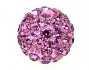 Old rhinestone disco pink 10mm beads