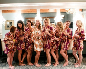 Wine Bridesmaids Robes, Wine Floral Robe, Plum Robe, Kimono Crossover Robe, Getting ready robes, Bridal Party Robes, Floral Robes