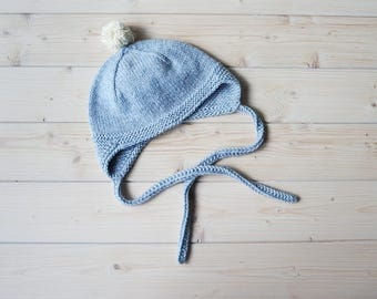 Baby beanie hat for winter or autumn from soft alpaca wool