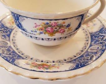 Stunning Vintage Blue Floral Myott Stafforshire BIRKS Tea Cup and Saucer Made in England / lovely classic Vintage Tea  /Teacup Set