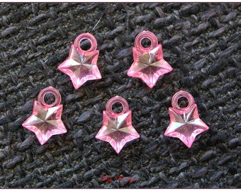Transparent pink clear 1.1 cm x 1 star charm