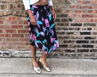 Womens black floral skirt