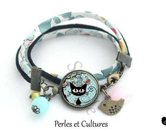 Cat bird blue bird orange black cabochon Beads Bracelet