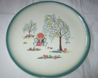 "Brock of California FOREVER YOURS 11"" Dinner Plate, Green & Pink Lovers in Park (c. 1950s)"