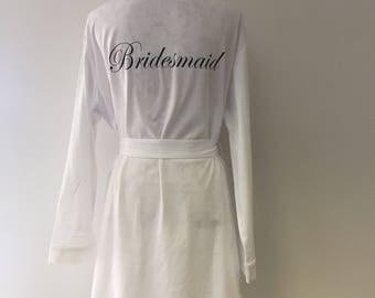 Bridal Party Robes.  Bridemaids robes.  Bridesmaid dressing gown. Bride dressing gown Bridal bathrobes. Personalised Bathrobe.