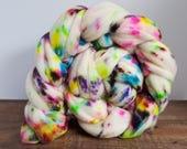 Unicorn Tears- Superwash- Targhee- USA- Organic- combed- wool top- roving- 4oz- Hand Painted-Hand Dyed