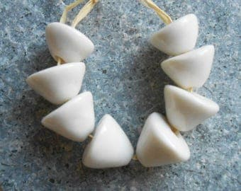 Pure White Shiny Porcelain Bead Cones, Artisan Ceramic Beads, Handmade in South Africa, Balelaceramics
