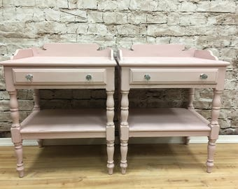 Vintage Shabby Cottage Chic Painted Pink Mid Century End Tables Nightstands