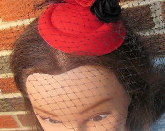 Red and Black Birdcage Feather Fascinator