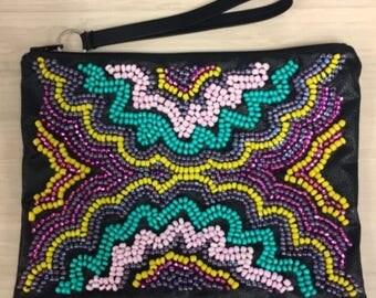 Blue Bag- Yellow Bag - Beaded Bag - Turquoise Clutch - Glitter Bag - Turquoise Bag - Purple Wristlet - Pink Wristlet - Blue Wristlet